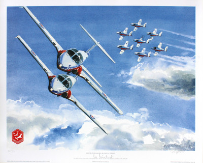 'Double Diamond Radical Twins' Snowbirds Litho Print